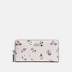 COACH F53770 Accordion Zip Wallet In Wildflower Print Coated Canvas IMITATION GOLD/CHALK MULTI