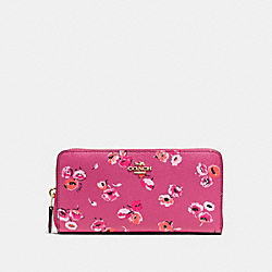 COACH F53770 Accordion Zip Wallet In Wildflower Print Coated Canvas  IMITATION GOLD/DAHLIA MULTI