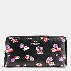 COACH F53770 Accordion Zip Wallet In Wildflower Print Coated Canvas SILVER/BLACK MULTI