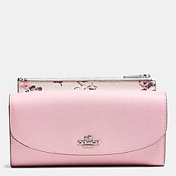 COACH F53771 Pop Slim Envelope In Wildflower Print Crossgrain Leather SILVER/PETAL MULTI