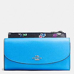 COACH F53771 Pop Slim Envelope In Wildflower Print Crossgrain Leather SILVER/AZURE MULTI