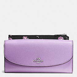 COACH F53771 Pop Slim Envelope In Wildflower Print Crossgrain Leather SILVER/LILAC MULTI