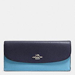 COACH F53777 Soft Wallet In Colorblock Crossgrain Leather IMITATION GOLD/MIDNIGHT/GREY BIRCH
