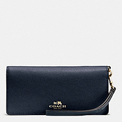 COACH F53778 Slim Wallet In Colorblock Crossgrain Leather IMITATION GOLD/MIDNIGHT/GREY BIRCH