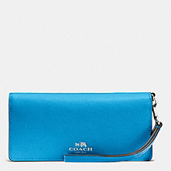 COACH F53778 Slim Wallet In Colorblock Crossgrain Leather SILVER/AZURE MULTI