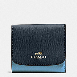 COACH F53779 Small Wallet In Colorblock Crossgrain Leather IMITATION GOLD/MIDNIGHT/GREY BIRCH
