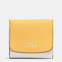 COACH F53779 Small Wallet In Colorblock Crossgrain Leather SILVER/CANARY MULTI