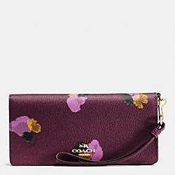 SLIM WALLET IN FLORAL PRINT COATED CANVAS - f53809 - LIGHT GOLD/PLUM MULTI