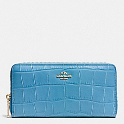 COACH F53836 Accordion Zip Wallet In Croc Embossed Leather IMITATION GOLD/BLUEJAY