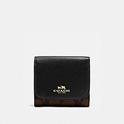 COACH F53837 Small Wallet In Signature IMITATION GOLD/BROWN/BLACK