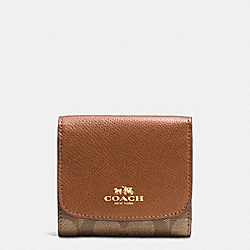 COACH F53837 Small Wallet In Signature IMITATION GOLD/KHAKI/SADDLE