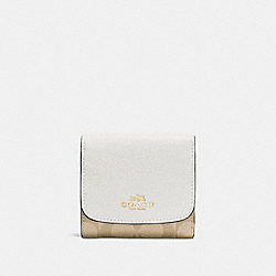 COACH F53837 Small Wallet In Signature IMITATION GOLD/LIGHT KHAKI/CHALK