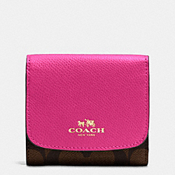 COACH F53837 Small Wallet In Signature IMITATION GOLD/BROWN/PINK RUBY