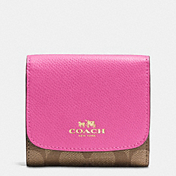 COACH F53837 Small Wallet In Signature IMITATION GOLD/KHAKI/DAHLIA