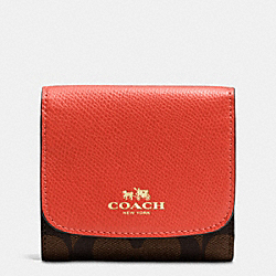 COACH F53837 Small Wallet In Signature IMITATION GOLD/BROWN/CARMINE