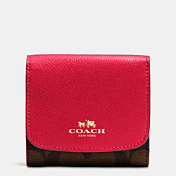 COACH F53837 Small Wallet In Signature IMITATION GOLD/BROWN TRUE RED