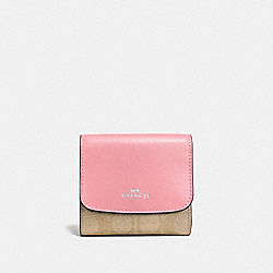 COACH F53837 Small Wallet In Signature Coated Canvas SILVER/LIGHT KHAKI/BLUSH