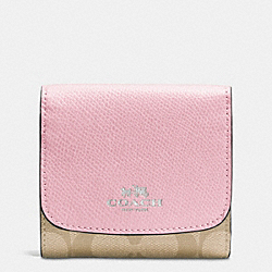 COACH F53837 Small Wallet In Signature SILVER/LIGHT KHAKI/PETAL