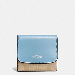 COACH F53837 Small Wallet In Signature SILVER/LIGHT KHAKI/CORNFLOWER