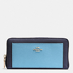 COACH F53838 Accordion Zip Wallet In Colorblock Crossgrain Leather IMITATION GOLD/MIDNIGHT/GREY BIRCH