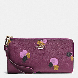 COACH F53842 Zip Wallet In Floral Print Coated Canvas LIGHT GOLD/PLUM MULTI