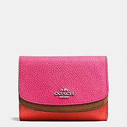 COACH F53852 Medium Double Flap Wallet In Colorblock Leather SILVER/DAHLIA MULTI