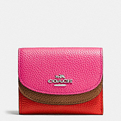 COACH F53859 Double Flap Small Wallet In Colorblock Leather SILVER/DAHLIA MULTI