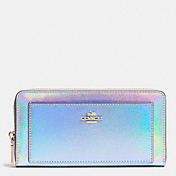ACCORDION ZIP WALLET IN HOLOGRAM LEATHER - f53878 - IMITATION GOLD/SILVER HOLOGRAM