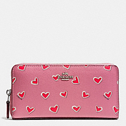 COACH F53885 Accordion Zip Wallet In Heart Print Coated Canvas SILVER/PINK