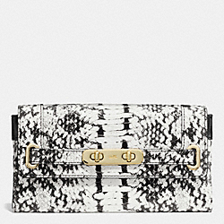 COACH F53888 Coach Swagger Wallet In Colorblock Exotic Embossed Leather LIGHT GOLD/BLACK
