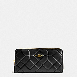 COACH F53889 Accordion Zip Wallet In Canyon Quilt Leather LIGHT GOLD/BLACK