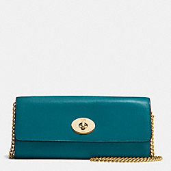 COACH F53890 Turnlock Slim Envelope Wallet With Chain In Smooth Leather IMITATION GOLD/ATLANTIC