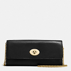 TURNLOCK SLIM ENVELOPE IN SMOOTH LEATHER - f53890 - IMITATION GOLD/BLACK