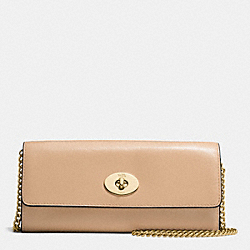 COACH F53890 Turnlock Slim Envelope Wallet With Chain In Smooth Leather IMITATION GOLD/BEECHWOOD