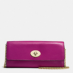 COACH F53890 Turnlock Slim Envelope Wallet With Chain In Smooth Leather IMITATION GOLD/FUCHSIA