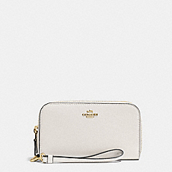 COACH F53891 Double Accordion Zip Wallet In Pebble Leather IMITATION GOLD/CHALK