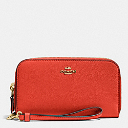 COACH F53891 Double Accordion Zip Wallet In Pebble Leather IMITATION GOLD/CARMINE