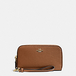 COACH F53891 Double Accordion Zip Wallet In Pebble Leather IMITATION GOLD/SADDLE