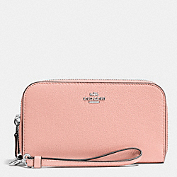 COACH F53891 Double Accordion Zip Wallet In Pebble Leather SILVER/BLUSH
