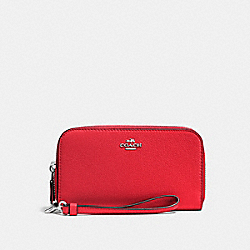COACH F53891 Double Accordion Zip Wallet In Pebble Leather SILVER/BRIGHT RED