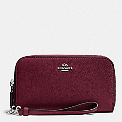 COACH F53891 Double Accordion Zip Wallet In Pebble Leather SILVER/BURGUNDY