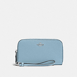 COACH F53891 Double Accordion Zip Wallet In Pebble Leather SILVER/CORNFLOWER