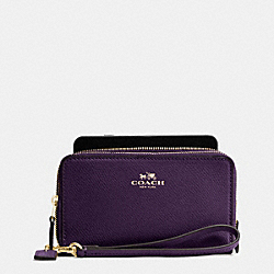 COACH F53896 Double Zip Phone Wallet In Crossgrain Leather IMITATION GOLD/AUBERGINE
