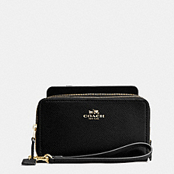 COACH F53896 Double Zip Phone Wallet In Crossgrain Leather IMITATION GOLD/BLACK