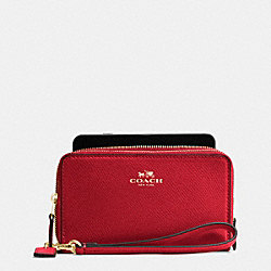 COACH F53896 Double Zip Phone Wallet In Crossgrain Leather IMITATION GOLD/TRUE RED