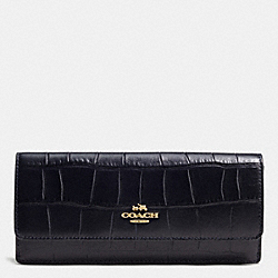 COACH F53923 Soft Wallet In Croc Embossed Leather LIGHT GOLD/NAVY