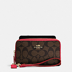 COACH F53937 Double Zip Phone Wallet In Signature IMITATION GOLD/BROWN TRUE RED