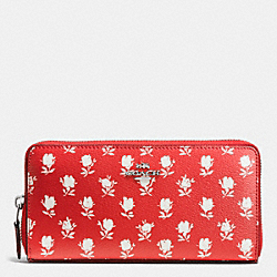 COACH F53942 Accordion Zip Wallet In Badlands Floral Print Coated Canvas SILVER/CARMINE MULTI