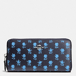 COACH F53942 Accordion Zip Wallet In Badlands Floral Print Coated Canvas SILVER/MIDNIGHT MULTI