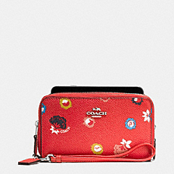 COACH F53966 Double Zip Phone Wallet In Wild Prairie Print Coated Canvas SILVER/CARMINE WILD PRAIRIE